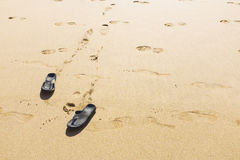 Footprints and Shoes Royalty Free Stock Photo