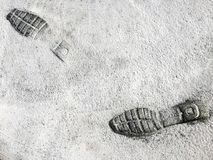 Footprints Shoes in Cement Road Royalty Free Stock Photos