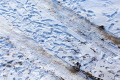 Footprints from shoes on snow as background Stock Photography