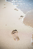 Footprints on the shore. Foot prints in the wet shore sand Royalty Free Stock Images