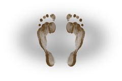 Footprints silhouette. On white background Stock Photography