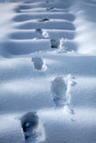 Footprints in snow. Footprints on snow covered steps Royalty Free Stock Image