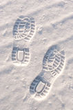 Footprints in snow Royalty Free Stock Image