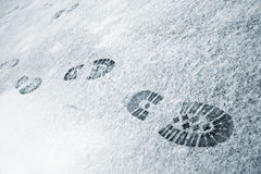 Footprints in snow royalty free stock photos