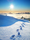 Footprints on a snow Royalty Free Stock Image