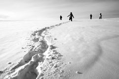 Footprints on the snow Royalty Free Stock Image