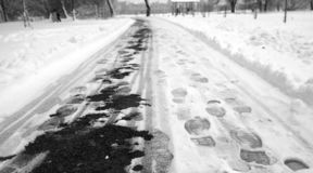 Footprints in the snow. Footprints on the first snow. Imprint an stock images