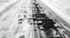 Footprints in the snow. Footprints on the first snow. Imprint an royalty free stock photo