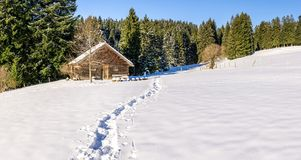 Footprints in snow leading to old wooden cabin and forest. Allgau, Bavaria, Germany, Alps. Royalty Free Stock Photo