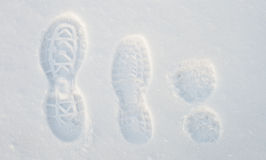 Footprints on the snow Stock Photo