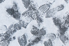 Footprints on snow Stock Photography