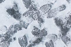 Footprints on snow Stock Photography