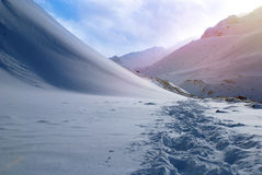 Footprints on the snow at winter in the Winter Mountains Royalty Free Stock Photography
