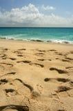 Footprints, St. Maarten. Footprints in the sand, Maho Bay, St. Maarten Stock Photography