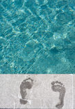 Footprints swimming pool Royalty Free Stock Photos