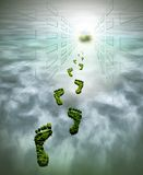 footprints symbolizing environmental protection Stock Photo