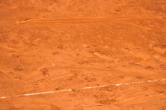 Footprints on a tennis clay court Royalty Free Stock Images