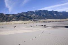 Footprints toward sangre mountains royalty free stock photography