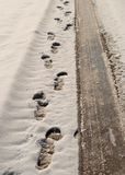 Footprints and tyre tracks. In the snow Stock Photography