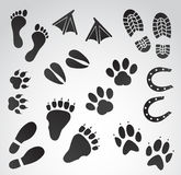 Footprints vector icon set. Vector art: footprints icon set on white background Royalty Free Stock Photography