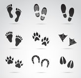 Footprints vector icon set. Vector art: footprints icon set on white background Royalty Free Stock Photo