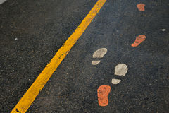 Footprints on walking track Royalty Free Stock Image
