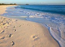 Footprints on the white sand. Playa Sirena. Cayo Largo. Cuba Royalty Free Stock Images