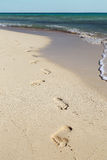 Footprints on white sand beach Stock Photography
