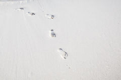 Footprints on white sand Royalty Free Stock Image