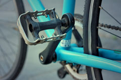 Footrest of bikes parked in the park. Stock Image