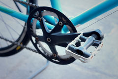 Footrest of bikes parked in the park. Royalty Free Stock Photos