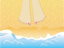 Foots on the beach Royalty Free Stock Photos
