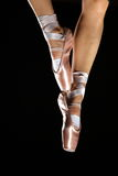 Foots with pointes. Of ballet dancer isolated on black Stock Photos