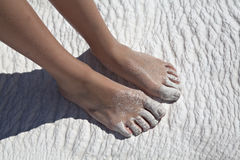 Foots on travertine, Pamukkale, Denizli Stock Images