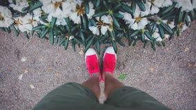Foots w czerwonych gumshoes blisko krzaków kwiatów Obraz Stock
