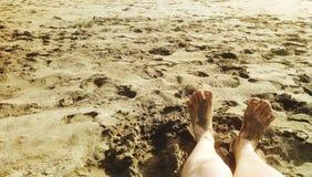 foots w plaży z morzem Obrazy Stock