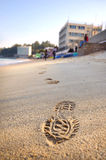 Footstep on Beach, Cheung Chau Royalty Free Stock Image