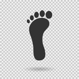 Footstep icon. Vector footprint. Flat style. Illustration with shadown. On transparent background Stock Photos