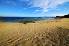 Footstep in lanzarote    and summer Royalty Free Stock Photography