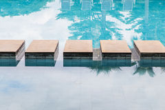 Footstep over the pool Stock Images