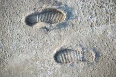 Footstep pattern on a concrete background Royalty Free Stock Image