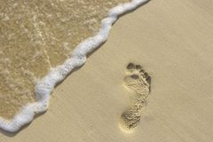 Footstep on the sand. Fun footstep on the coral sandy beach Royalty Free Stock Photo