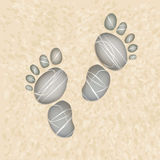 Footstep on sand. Footstep of pebbly stones  background Stock Images