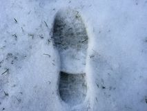 Footstep in snow. Footstep in the snow Royalty Free Stock Image