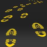 Footstep vector. Road Way perspective Yellow footsteps Royalty Free Stock Photography