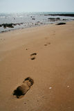 Footsteps. On sand. Coast of Persian Gulf, Queshm island, Iran Royalty Free Stock Photography