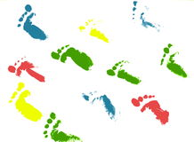 Footsteps. Traces of colorful children footprints Stock Images