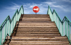 Free Footsteps And No Entry Sign At The End Stock Image - 24789011