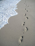 Footsteps at the beach. At Cape Town Hermanus beach Royalty Free Stock Photography