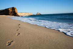 Footsteps on a beach Stock Image